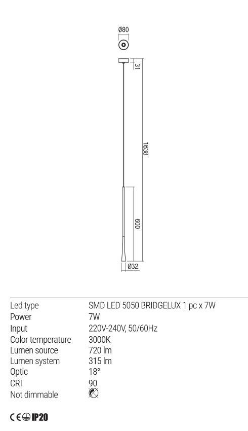 Redo 01-1758 ITO LED lámpa függeszték