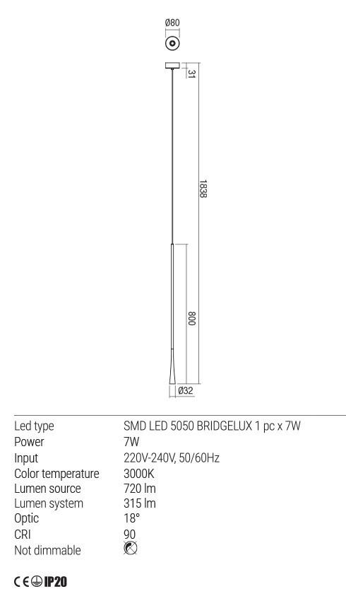 Redo 01-1760 ITO LED lámpa függeszték
