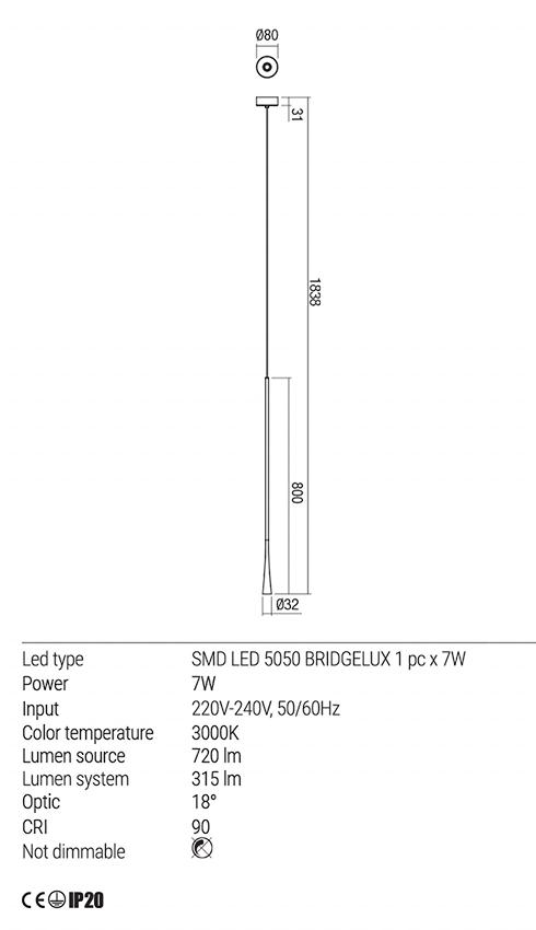 Redo 01-1761 ITO LED lámpa függeszték