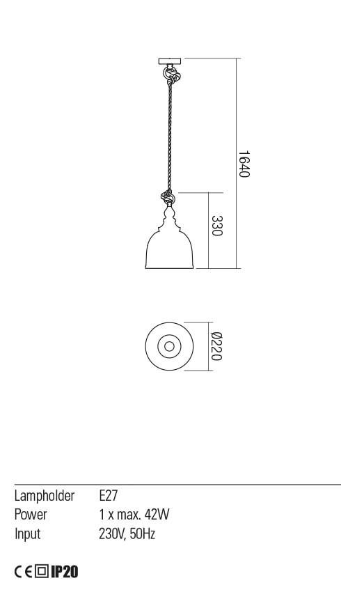 Redo 01-2116 KASHI lámpa függeszték