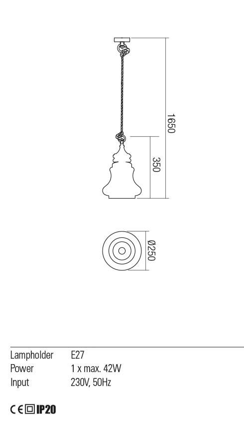 Redo 01-2117 KASHI lámpa függeszték