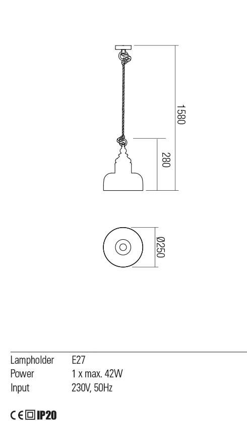 Redo 01-2118 KASHI lámpa függeszték