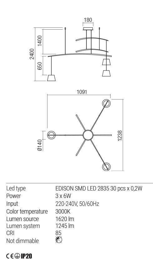 Redo 01-1524 LOLLI LED lámpa függeszték
