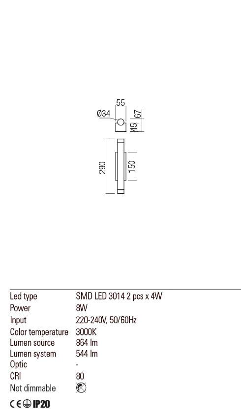 Redo 01-2031 MADISON LED fali lámpa