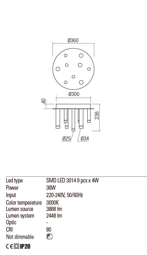 Redo 01-2040 MADISON LED mennyezeti lámpa