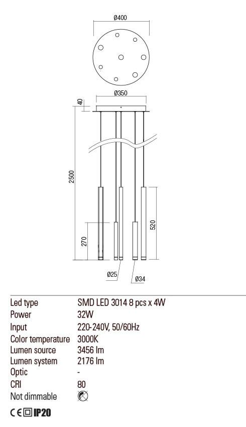 Redok 01-2052 MADISON LED lámpa függeszték
