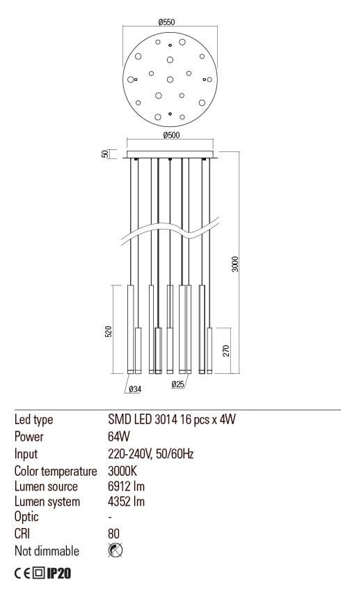 Redo 01-2058 MADISON LED lámpa függeszték