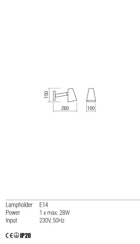 Redo 01-1552 MINGO fali lámpa