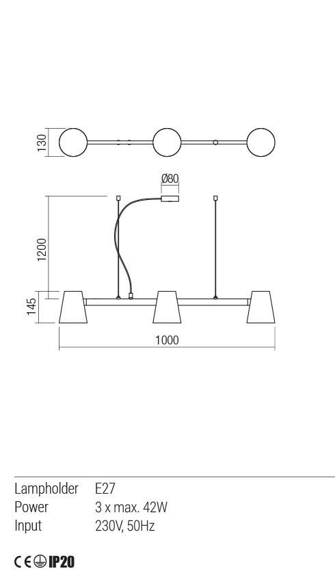 Redo 01-1555 MINGO lámpa függeszték