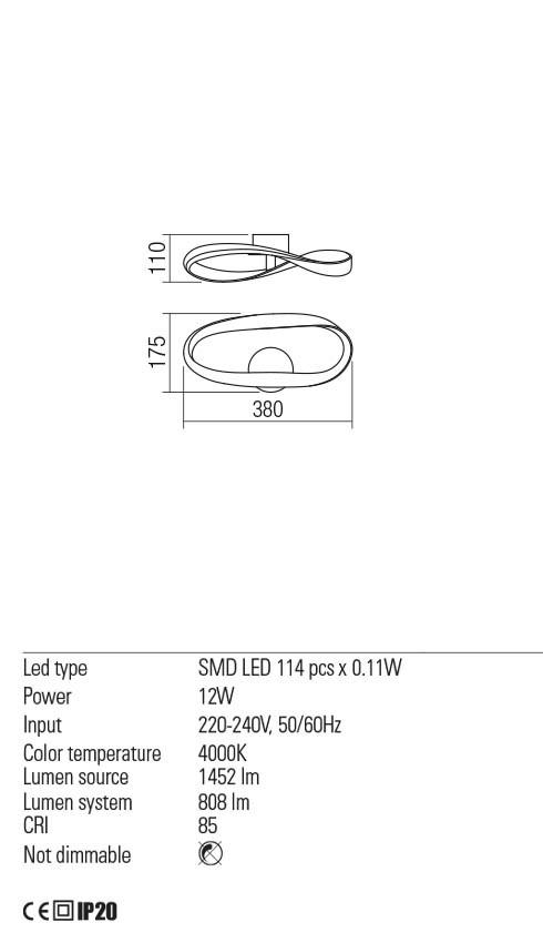 Redo 01-2089 NUBO LED fali lámpa