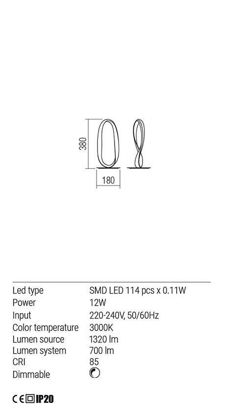 Redo 01-1533 NUBO LED asztali lámpa
