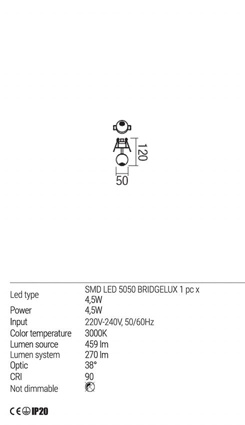 Redo 01-1829 OBO LED beépíthető lámpa