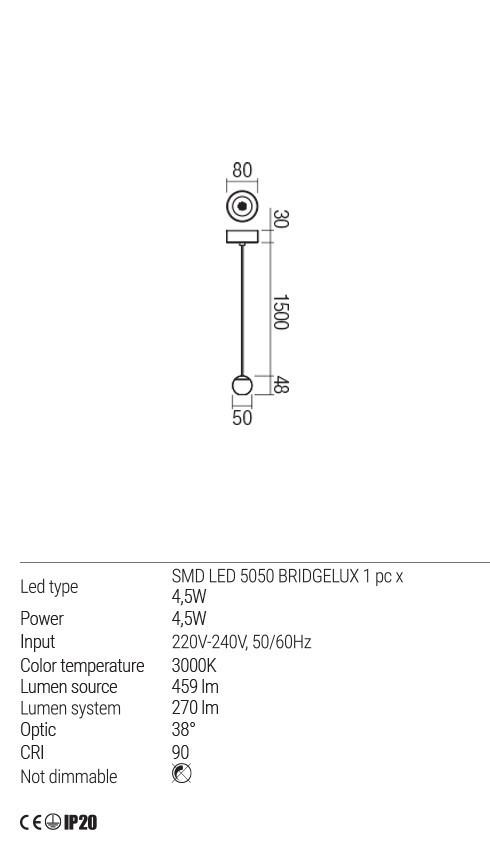 Redo 01-1833 OBO LED lámpa függeszték