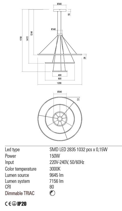 Redo 01-2242 ORBIT LED lámpa függeszték