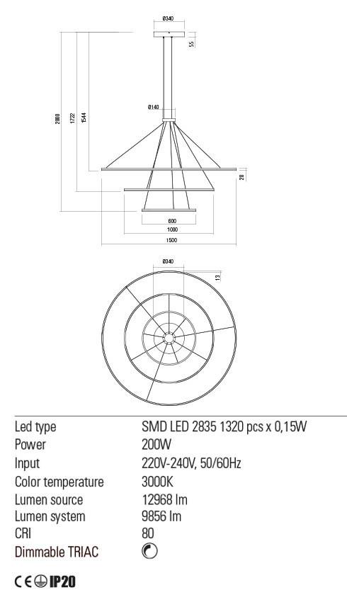 Redo 01-2246 ORBIT LED lámpa függeszték