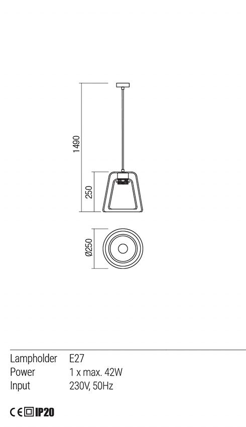 Redo 01-1612 OWU lámpa függeszték