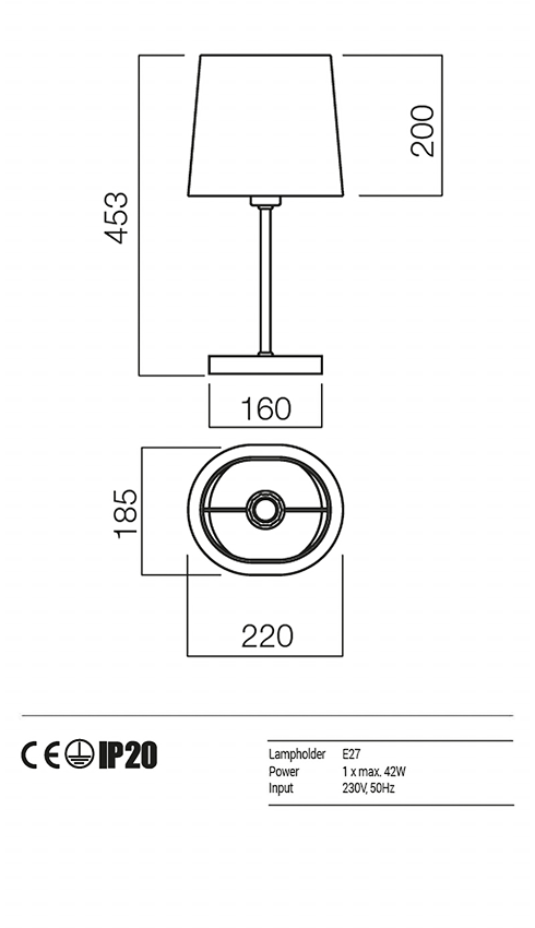 Redo 01-1152-CR-SCT-TR PICCADILLY asztali lámpa