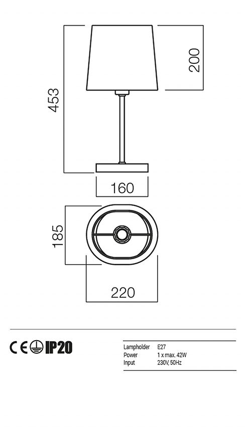 Redo 01-1152-CR-SPT-BG PICCADILLY asztali lámpa
