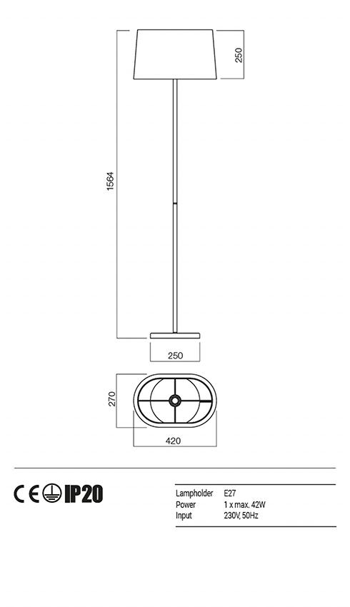 Redo 01-1153-CR-SCF-BG PICCADILLY állólámpa