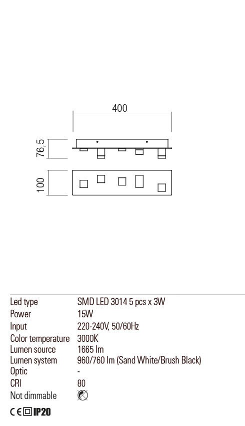 Redo 01-2013 PIXEL LED mennyezeti / fali lámpa