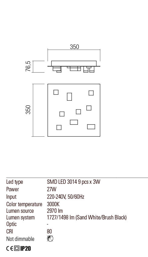 Redo 01-2015 PIXEL LED mennyezeti lámpa