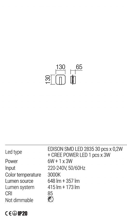 Redo 01-1491 QUDA LED fali lámpa