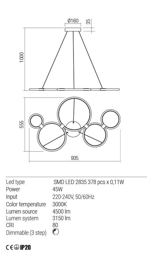 Redo 01-1742 RADIUS LED lámpa függeszték