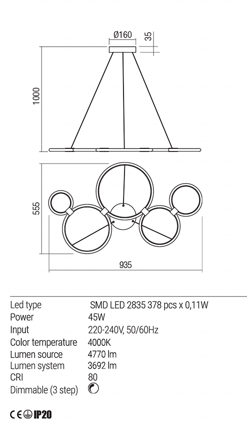 Redo 01-1860 RADIUS LED lámpa függeszték