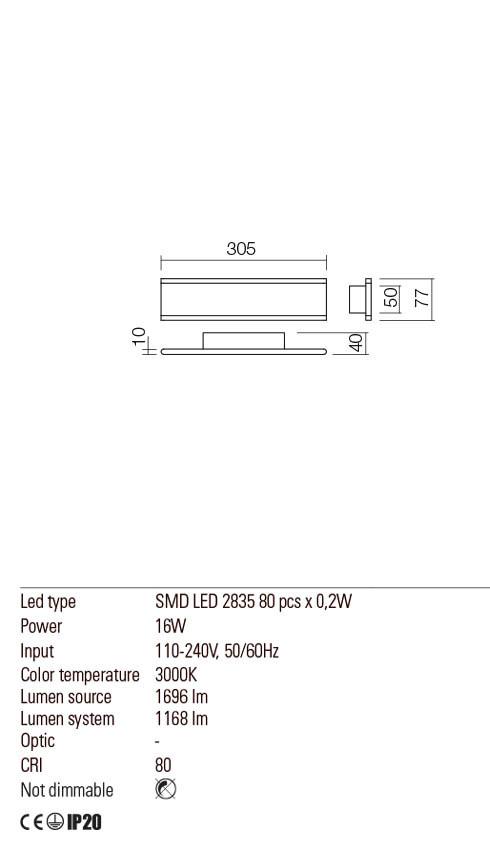 Redo 01-2298 RAIL LED fali lámpa