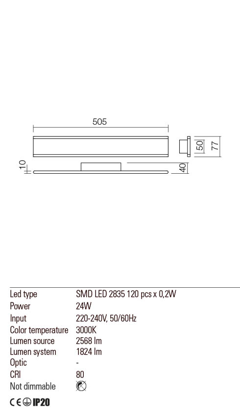 Redo 01-2300 RAIL LED fali lámpa