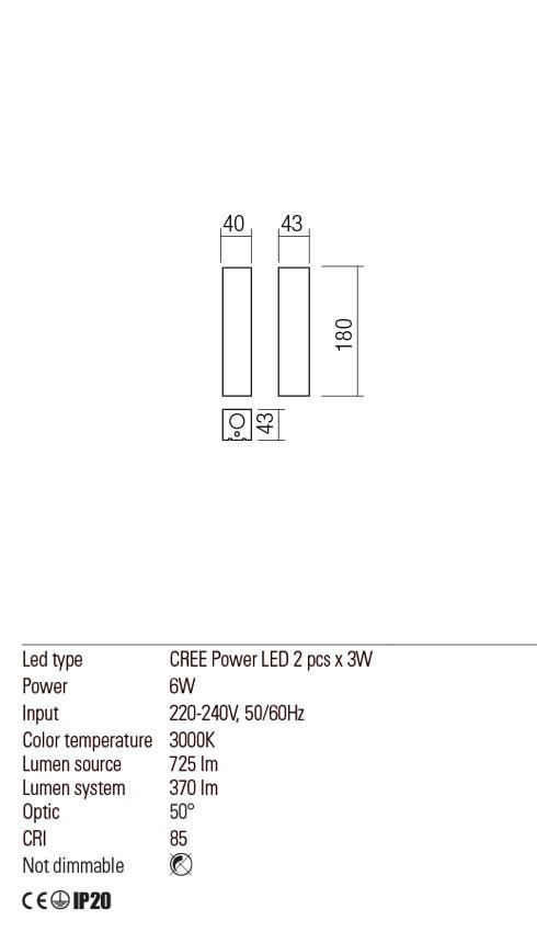 Redo 01-1975 SABER LED fali lámpa