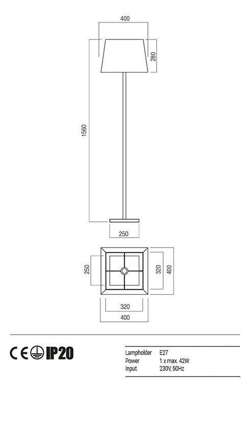 Redo 01-1149-BR-SPFSQ-BG SAVOY állólámpa