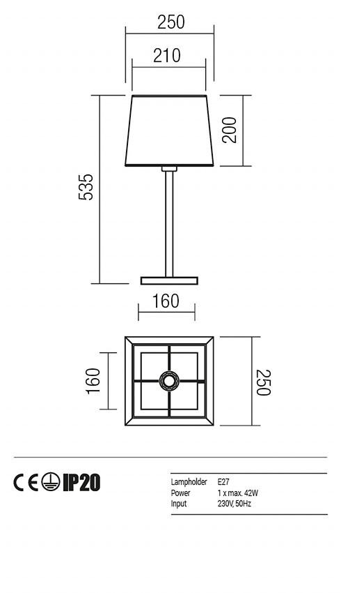 Redo 01-1148-AB-SCTSQ-BG SAVOY asztali lámpa