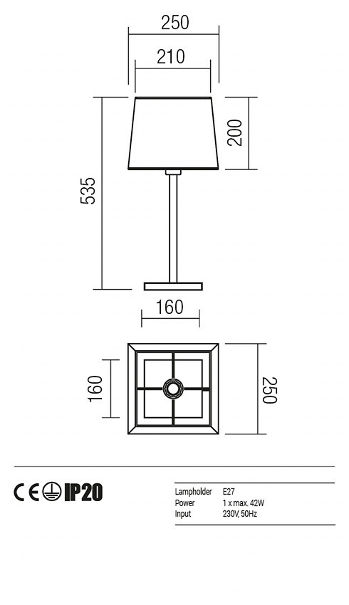 Redo 01-1148-BR-SPTSQ-BG SAVOY asztali lámpa