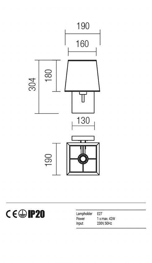 Redo 01-1146-BR-SCWSQ-TR SAVOY fali lámpa