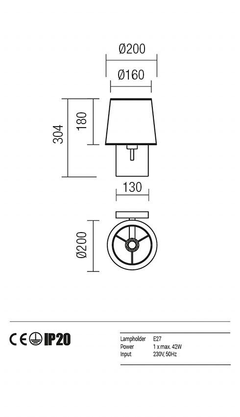 Redo 01-1146-BR-SPWR-BG SAVOY fali lámpa