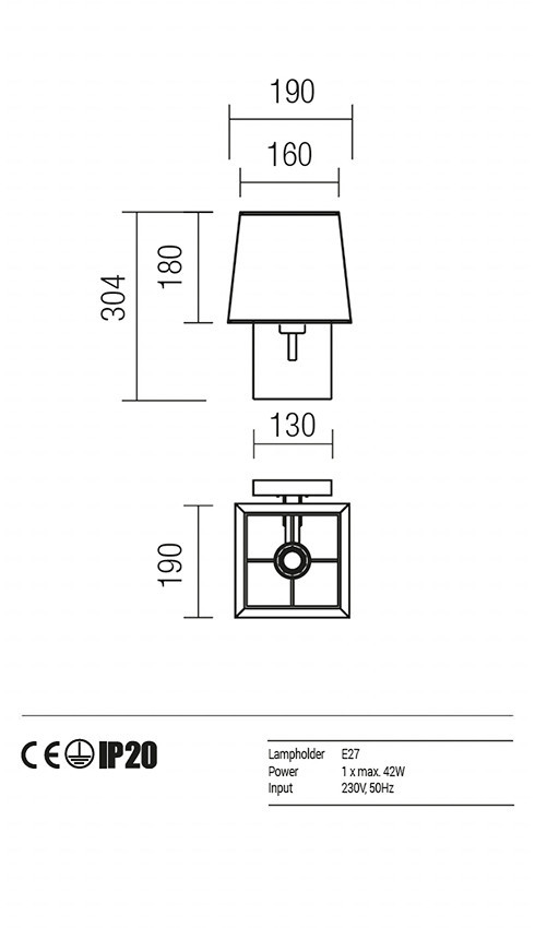 Redo 01-1146-BR-SPWSQ-BG SAVOY fali lámpa
