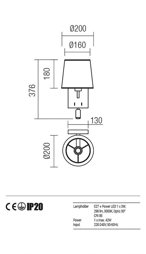 Redo 01-1147-AB-SPWR-BG SAVOY fali lámpa