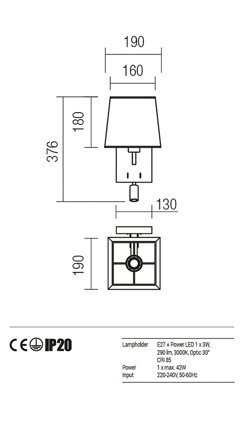 Redo 01-1147-BR-SCWSQ-TR SAVOY fali lámpa