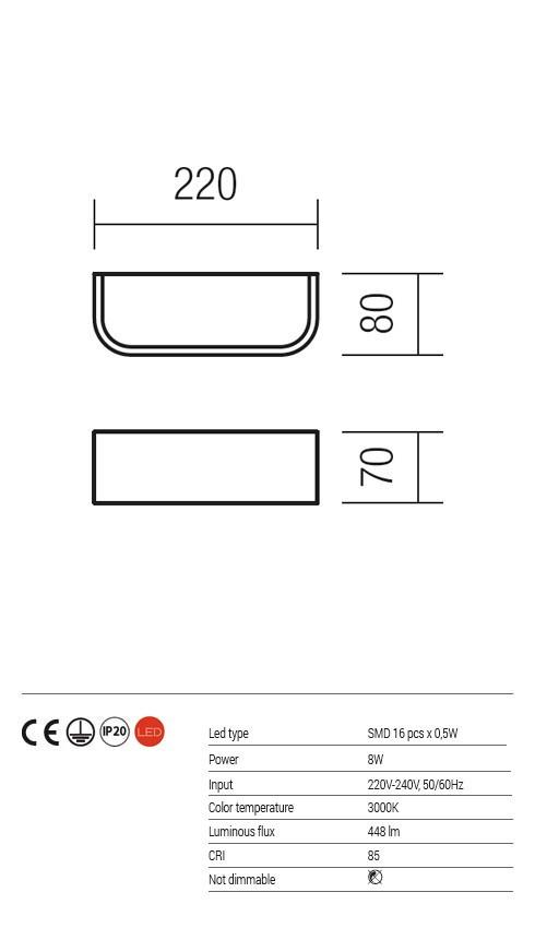Redo 01-1120 SCREEN LED fali lámpa