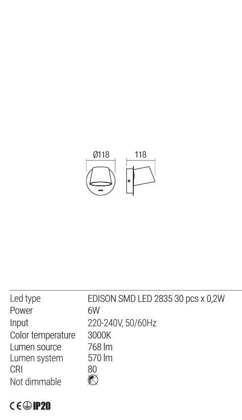 Redo 01-1739 SHAKER LED fali lámpa