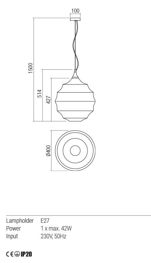 Redo 01-1845 SLAG lámpa függeszték
