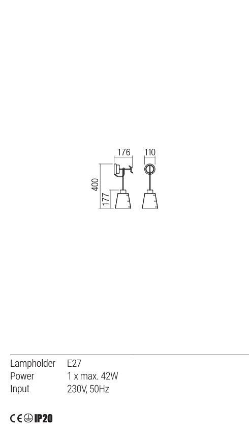 Redo 01-1483 TAILOR fali lámpa