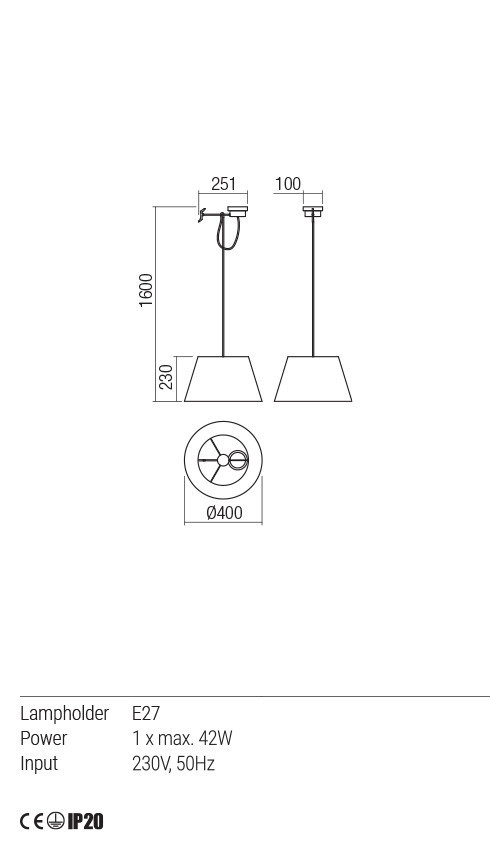 Redo 01-1486 TAILOR lámpa függeszték