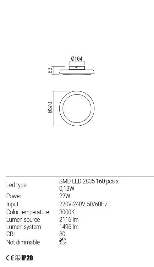 Redo 01-1692 TALADO LED mennyezeti lámpa