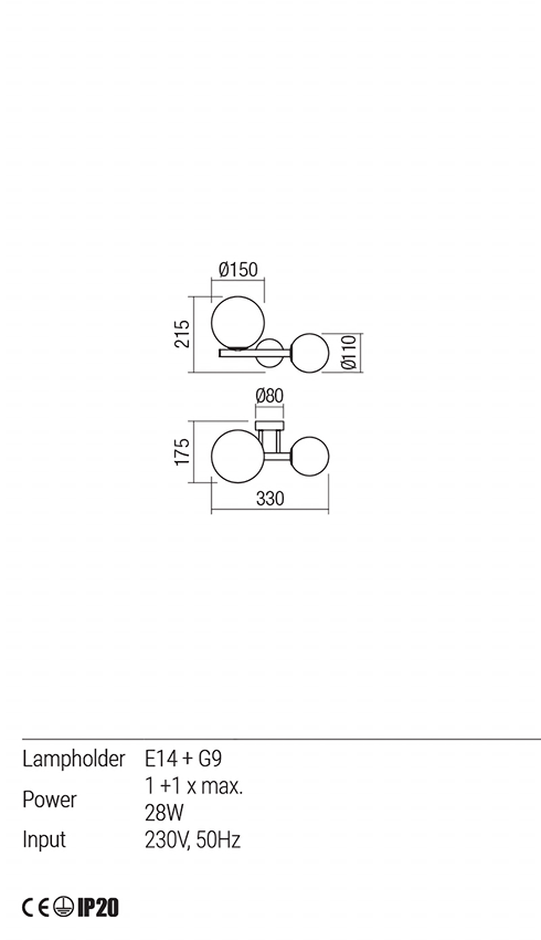 Redo 01-1632 TALIS fali lámpa