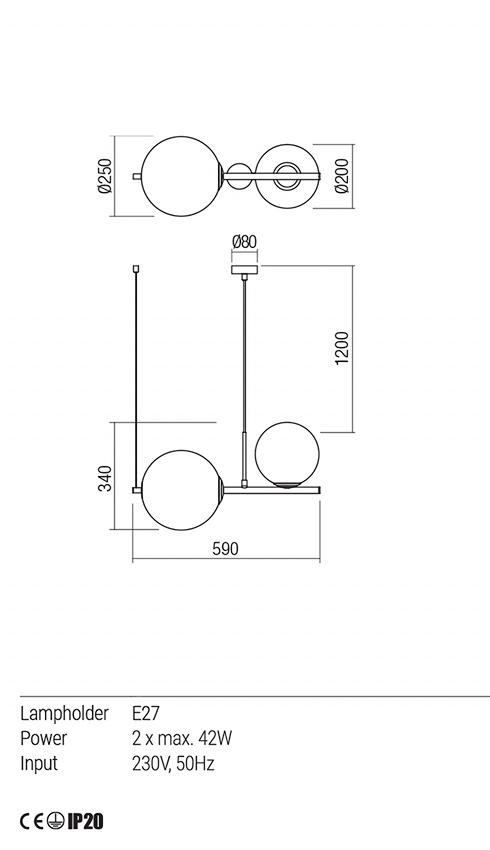 Redo 01-1633 TALIS lámpa függeszték