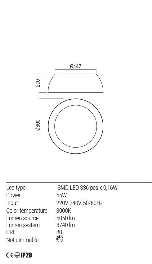 Redo 01-1534 TAPPER LED mennyezeti lámpa