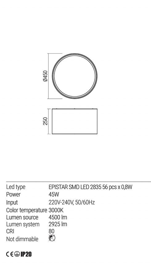 Redo 01-1541 TAPPER LED mennyezeti lámpa