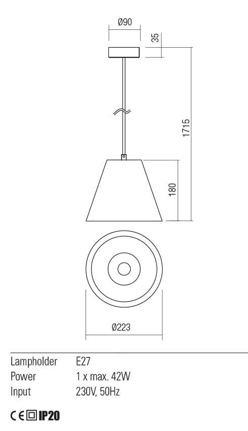 Redo 01-2214 TESSA lámpa függeszték
